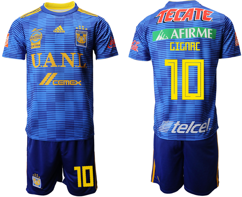 Men 2018-2019 club Tigres UANL away 10 blue Soccer Jerseys