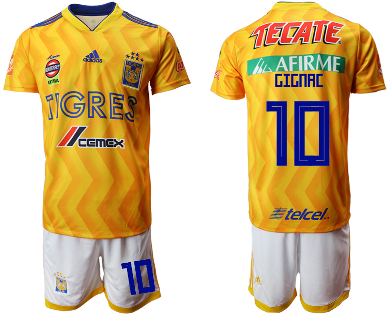 Men 2018-2019 club Tigres UANL home 10 yellow Soccer Jerseys