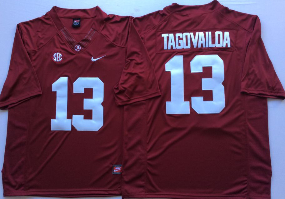 Men Alabama Crimson Tide 13 Tagovailoa Red Nike NCAA Jerseys