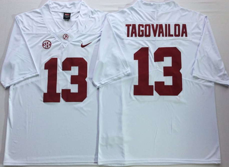 Men Alabama Crimson Tide 13 Tagovailoa White Nike NCAA Jerseys