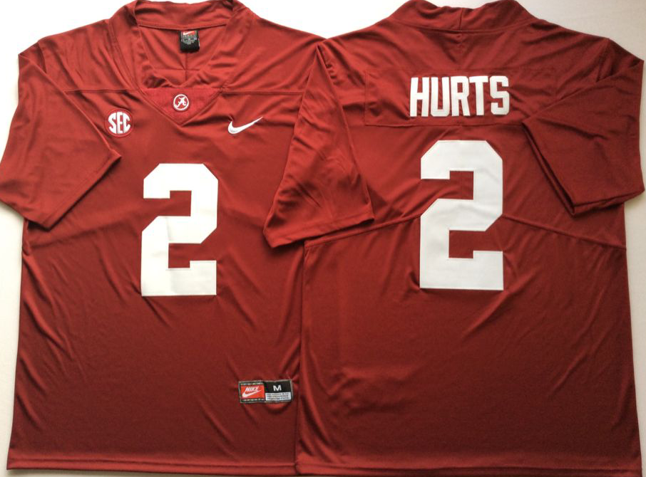 Men Alabama Crimson Tide 2 Hurts Red Nike NCAA Jerseys