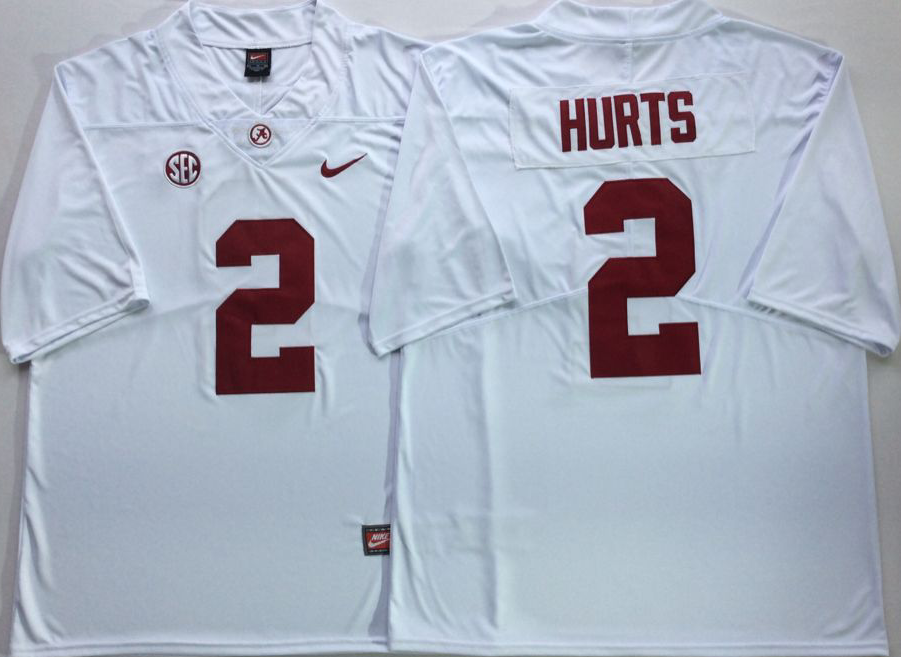 Men Alabama Crimson Tide 2 Hurts White Nike NCAA Jerseys