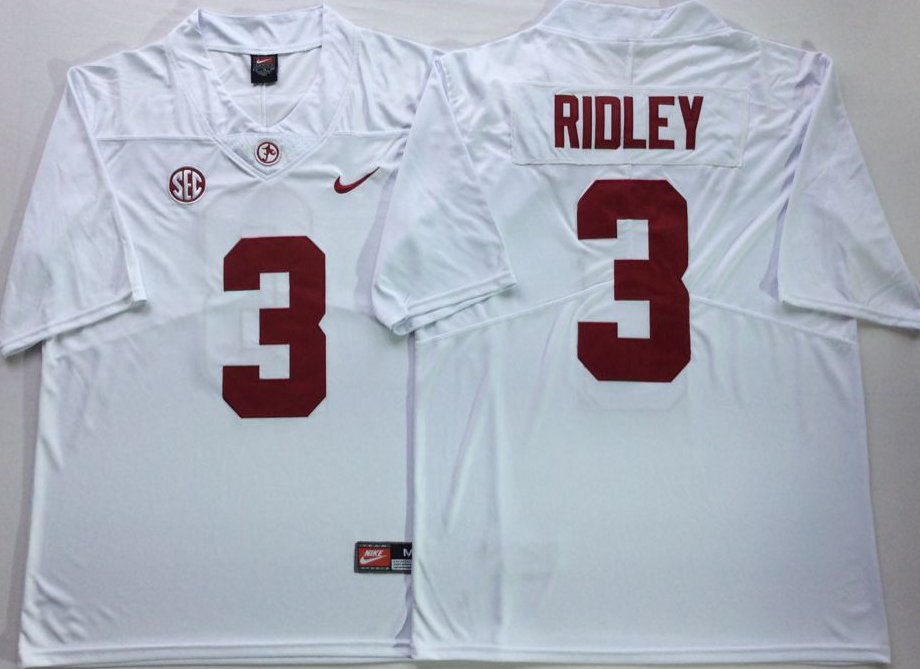 Men Alabama Crimson Tide 3 Ridley White Nike NCAA Jerseys