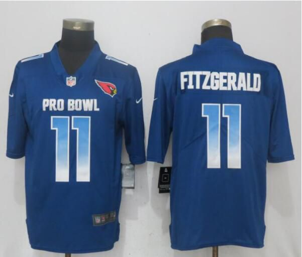 Men Arizona Cardinals 11 Fitzgerald Blue Nike Royal 2019 Pro Bowl New Nike Limited NFL Jersey