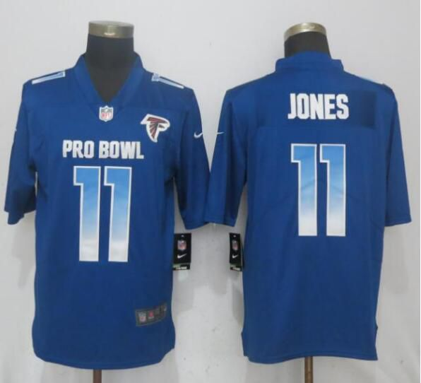Men Atlanta Falcons 11 Jones Blue Nike Royal 2019 Pro Bowl New Nike Limited NFL Jersey