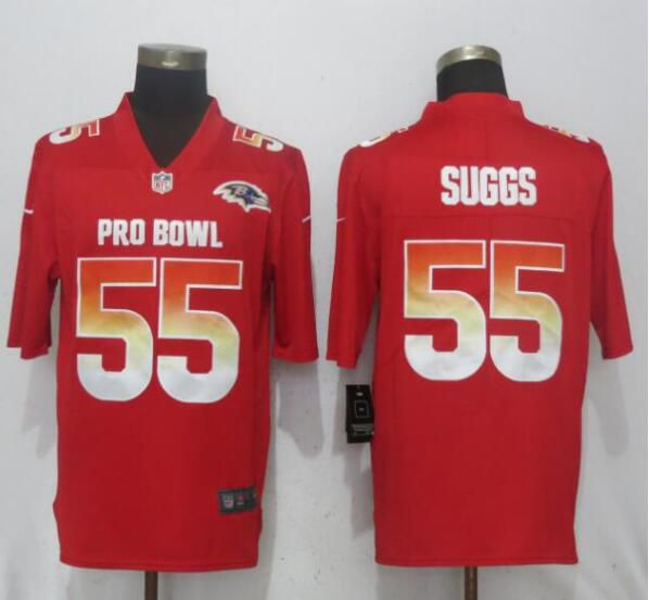 Men Baltimore Ravens 55 Suggs Red Nike Royal 2019 Pro Bowl New Nike Limited NFL Jersey