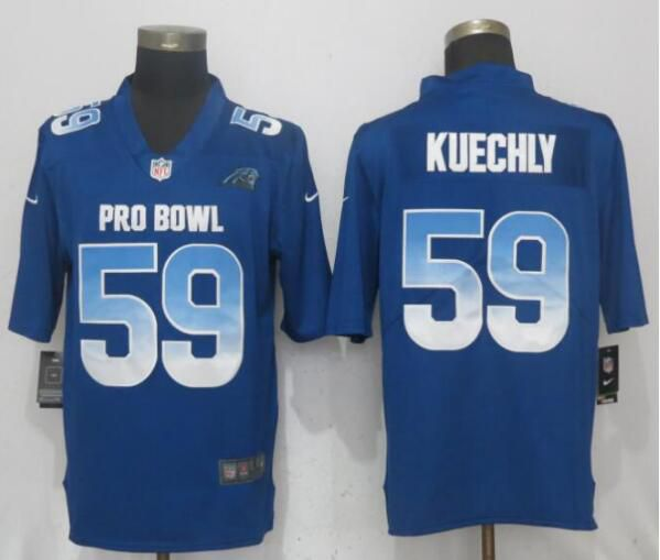 Men Carolina Panthers 59 Kuechly Blue Nike Royal 2019 Pro Bowl New Nike Limited NFL Jersey