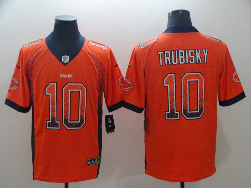 Men Chicago Bears 10 Trubisky Orange Nike Drift Fashion Color Rush Limited NFL Jerseys