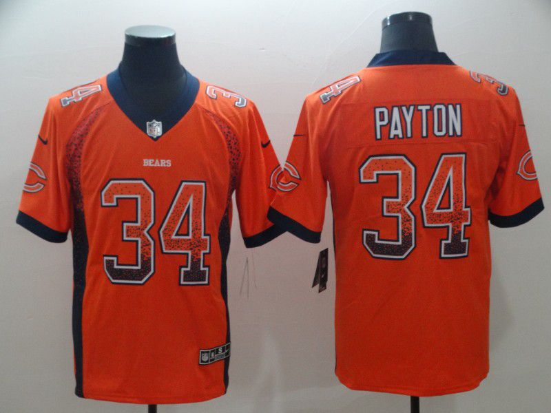 Men Chicago Bears 34 Payton Orange Nike Drift Fashion Color Rush Limited NFL Jerseys