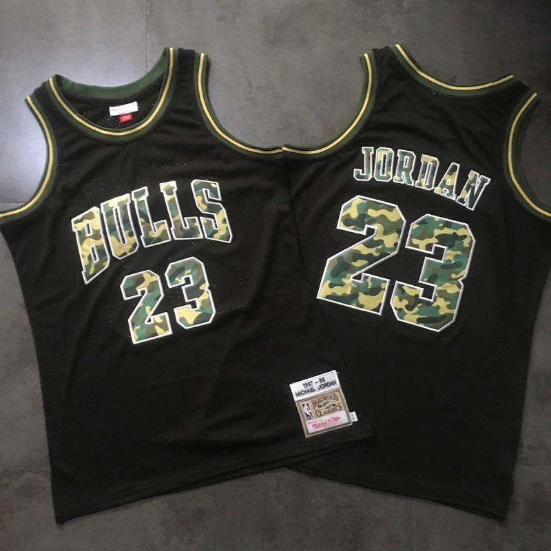 Men Chicago Bulls 23 Jordan Black Trowback Camo Swingman NBA Jersey