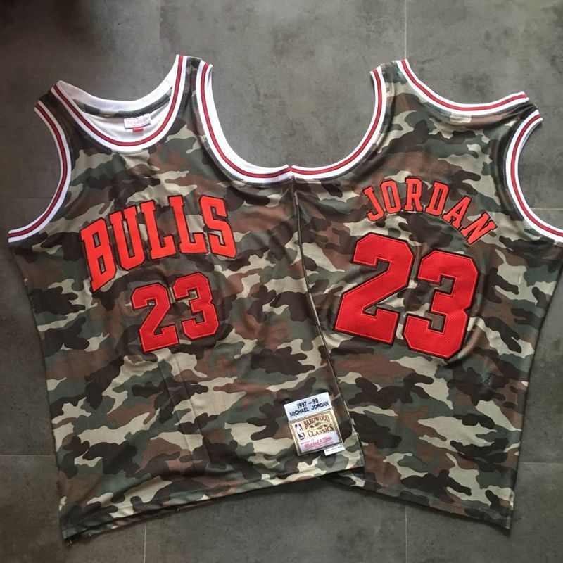 Men Chicago Bulls 23 Jordan Trowback Camo Swingman NBA Jersey
