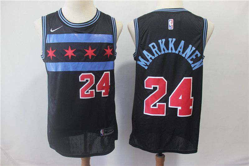 Men Chicago Bulls 24 Markkanen Black City Edition Game Nike NBA Jerseys