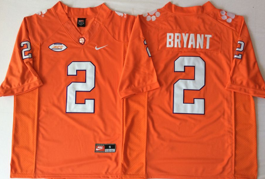 Men Clemson Tigers 2 Bryant Orange Nike Limited Stitched NCAA Jersey