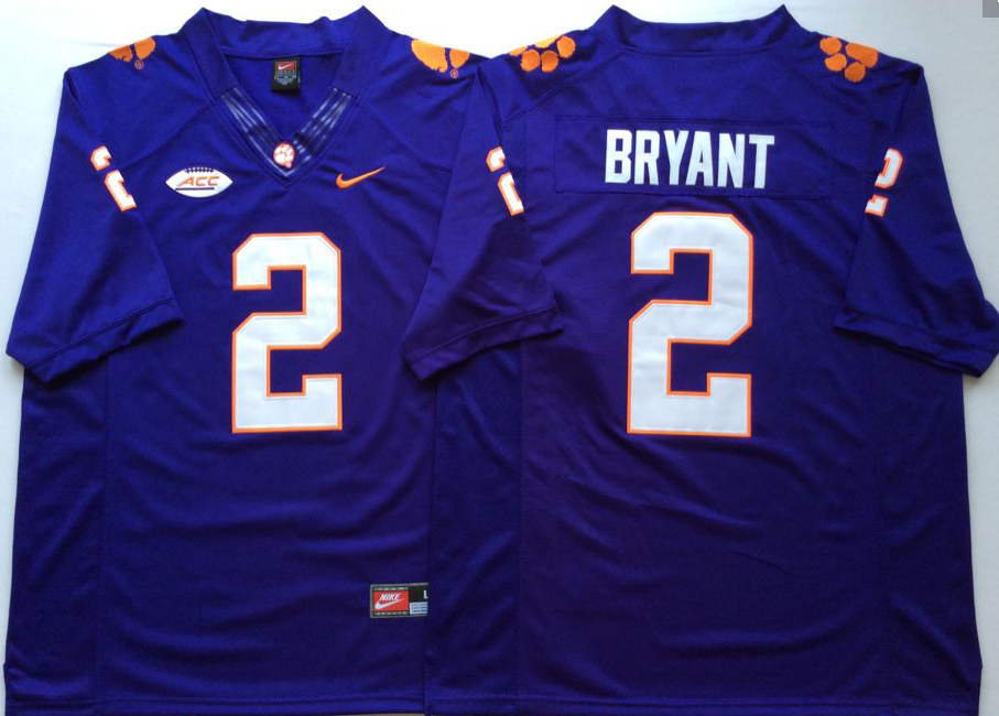 Men Clemson Tigers 2 Bryant Purple Nike NCAA Jerseys