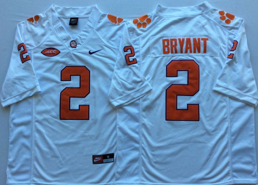 Men Clemson Tigers 2 Bryant White Nike Limited Stitched NCAA Jersey
