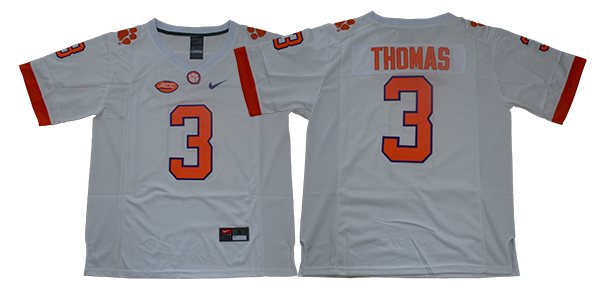 Men Clemson Tigers 3 Thomas White Nike Limited Stitched NCAA Jersey