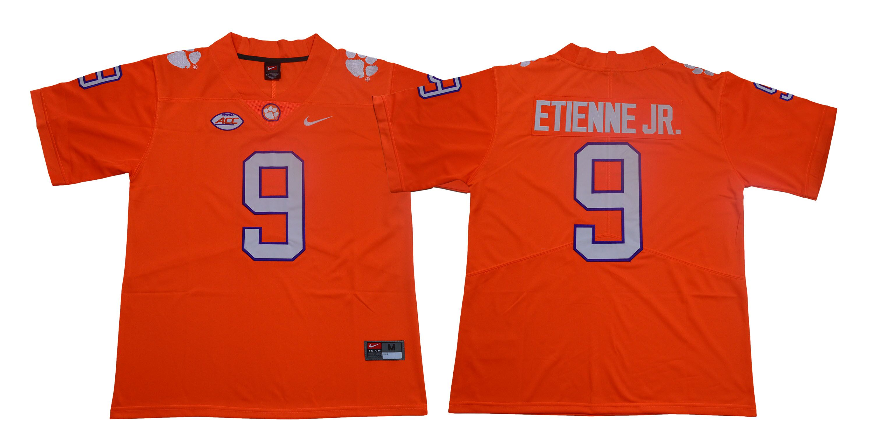 Men Clemson Tigers 9 Travis Etienne Jr. Orange Nike Limited Stitched NCAA Jersey