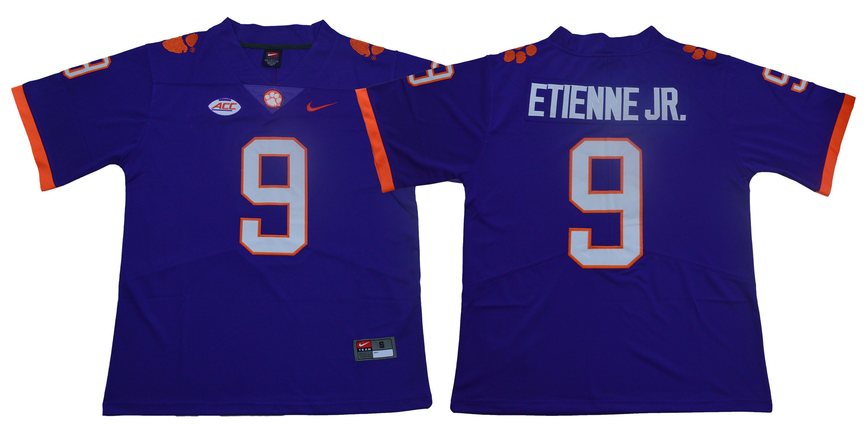 Men Clemson Tigers 9 Travis Etienne Jr. Purple Nike Limited Stitched NCAA Jersey