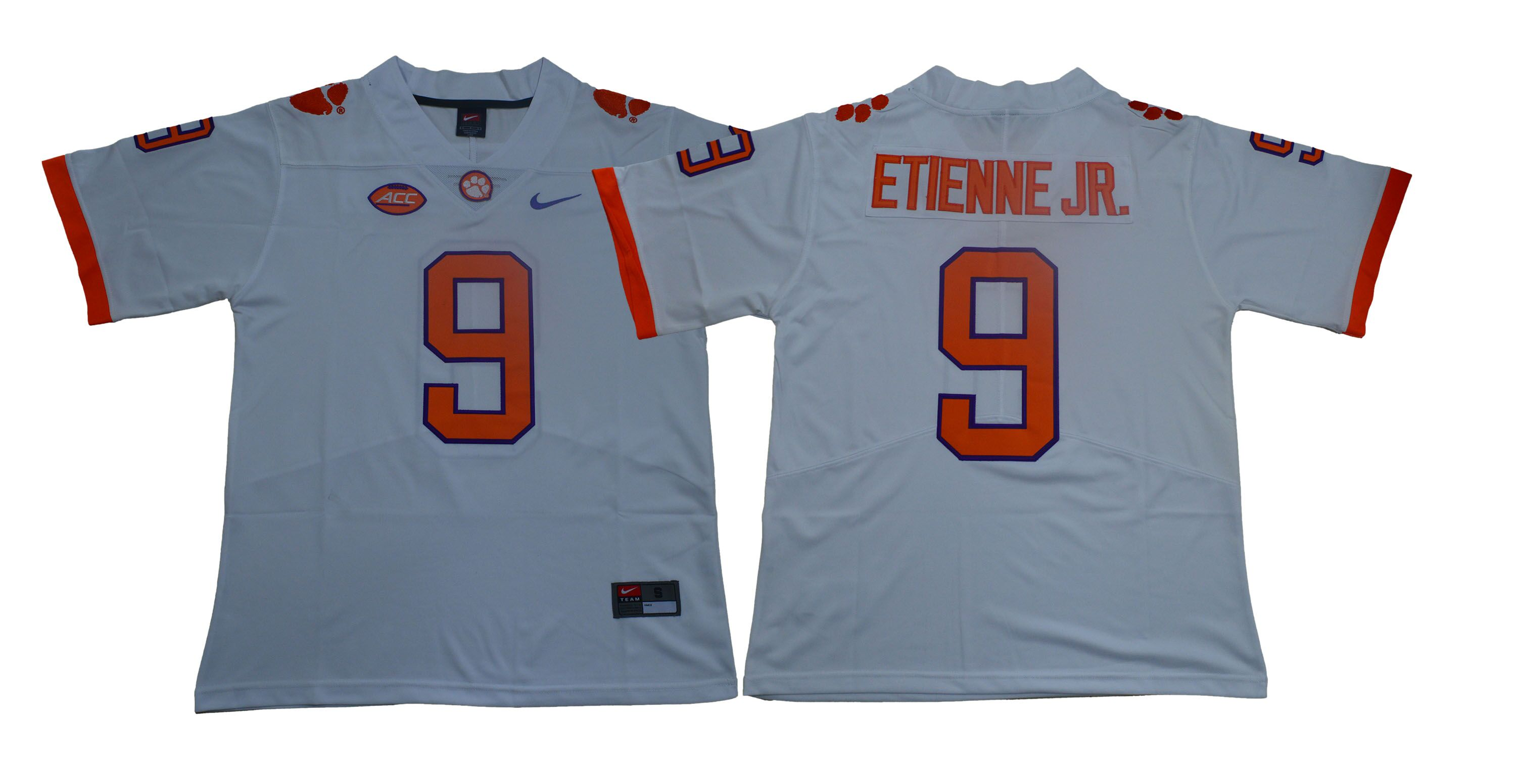Men Clemson Tigers 9 Travis Etienne Jr. White Nike Limited Stitched NCAA Jersey