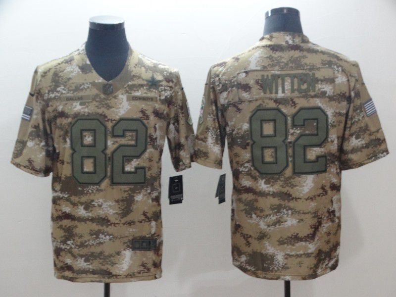 Men Dallas cowboys 82 Witten Nike Camo Salute to Service Retired Player Limited NFL Jersey