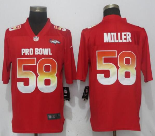 Men Denver Broncos 58 Miller Red Nike Royal 2019 Pro Bowl New Nike Limited NFL Jersey