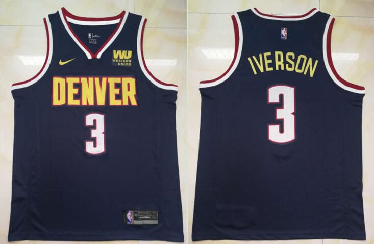 Men Denver Nuggets 3 Iverson Blue City Edition Game Nike NBA Jerseys