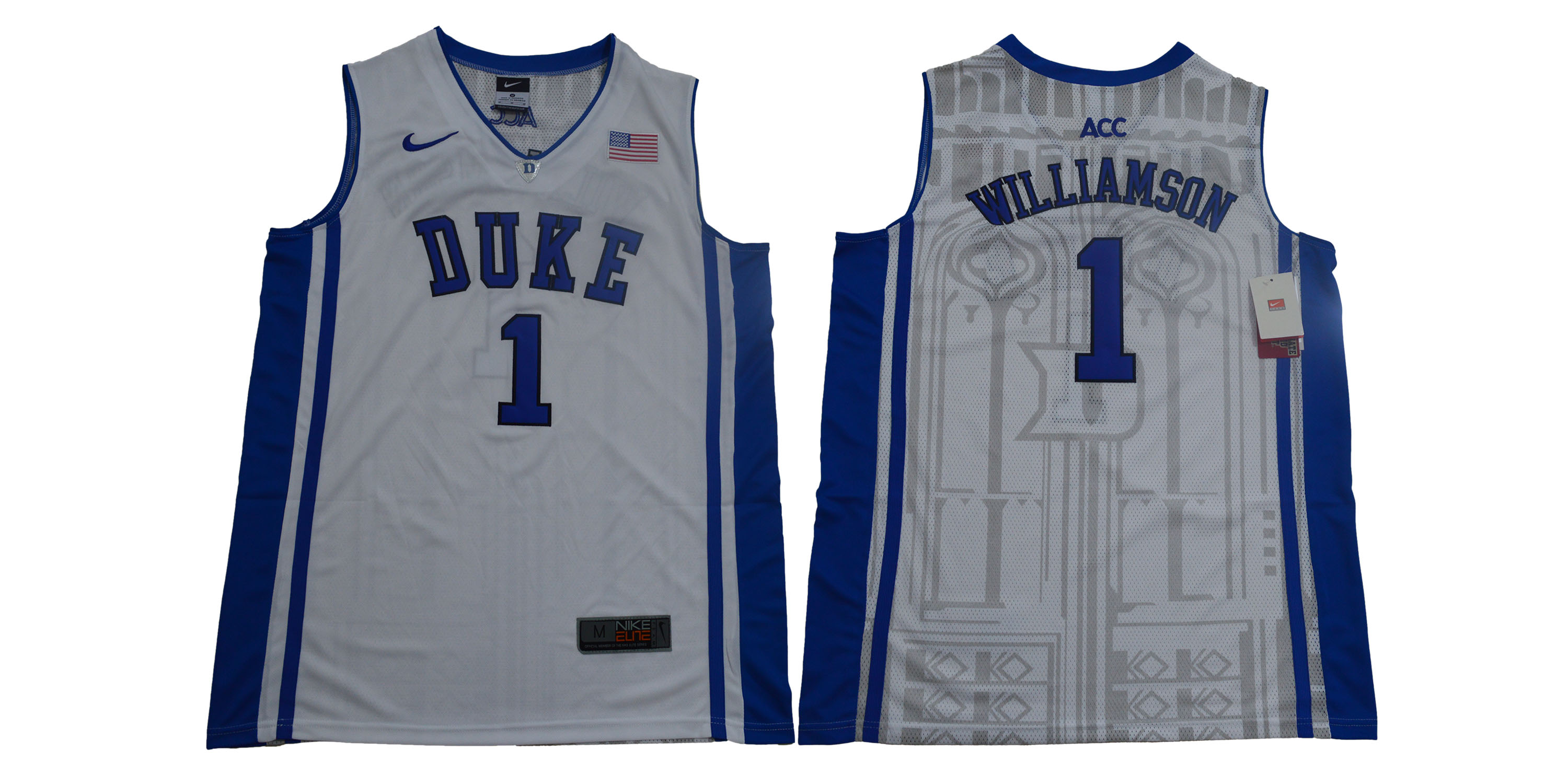 Men Duke Blue Devils 1 Zion Williamson White Nike Limited Stitched NCAA Jersey
