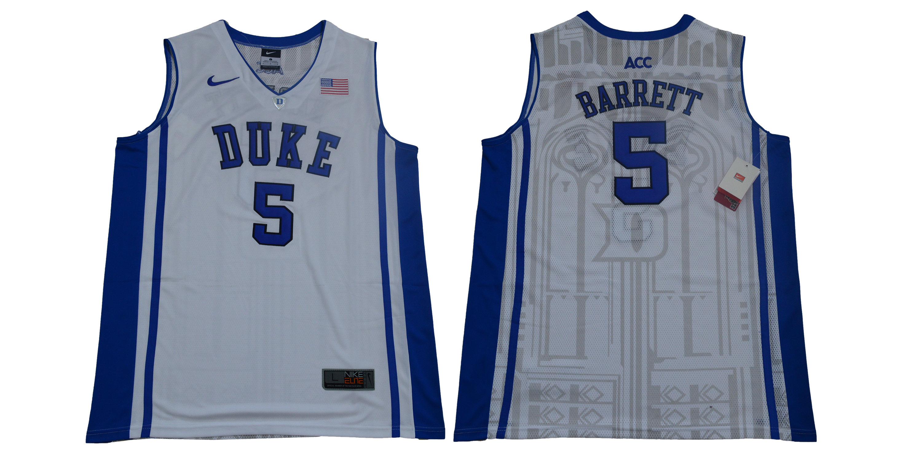 Men Duke Blue Devils 5 Barrett White Nike Limited Stitched NCAA Jersey
