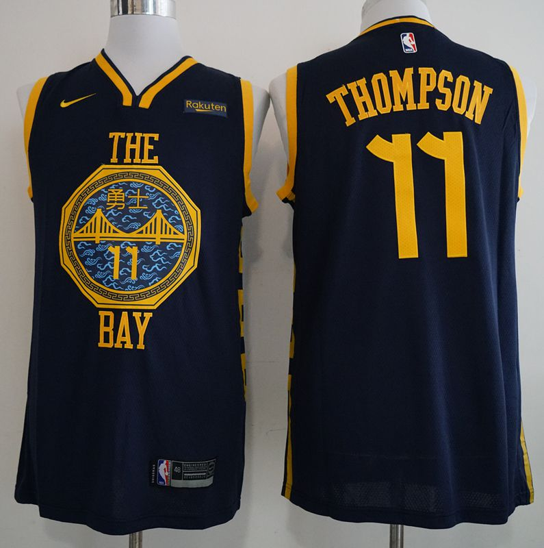 Men Golden State Warriors 11 Thompson Blue City Edition Nike Game NBA Jerseys
