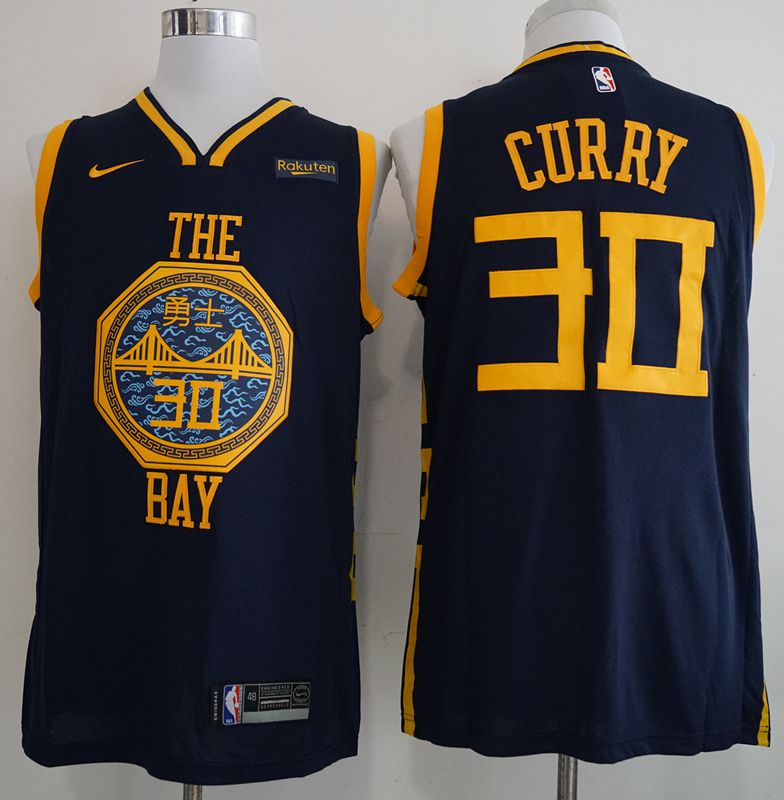 Men Golden State Warriors 30 Curry Blue City Edition Nike Game NBA Jerseys