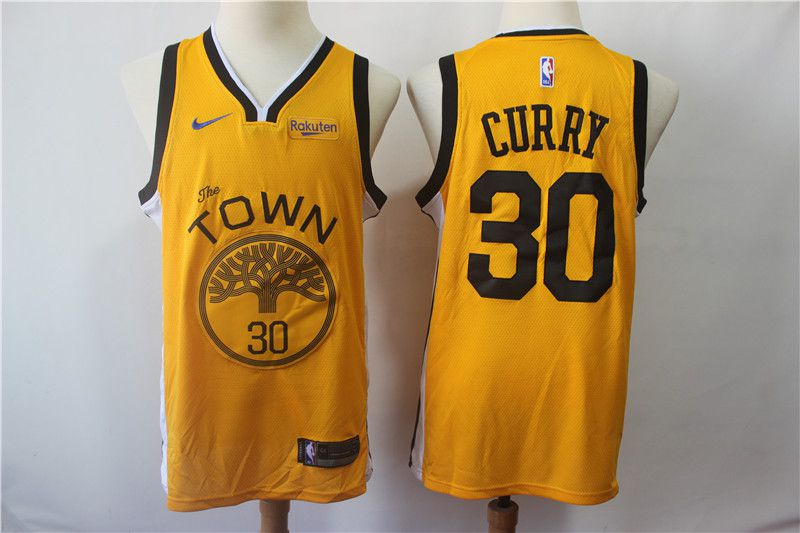 Men Golden State Warriors 30 Curry Yellow City Edition Nike Game NBA Jerseys