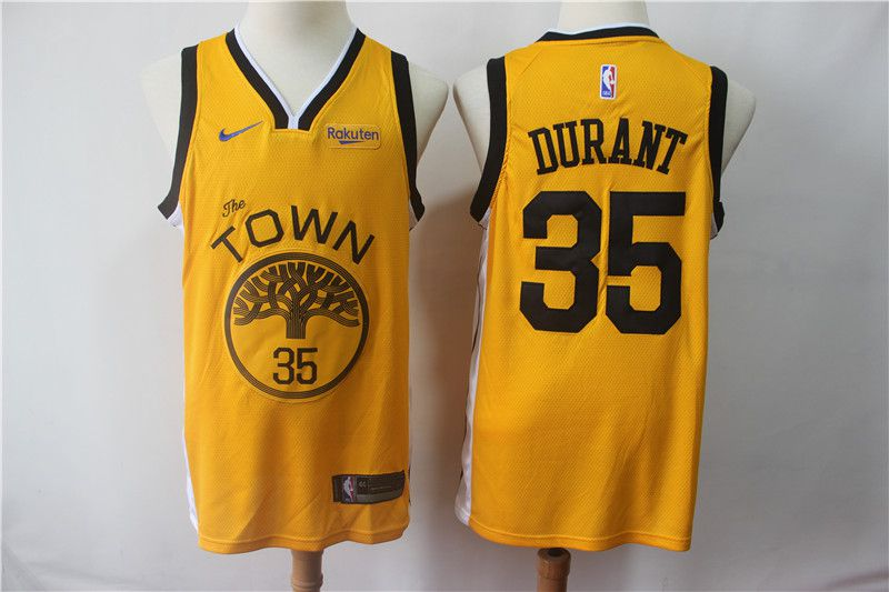 Men Golden State Warriors 35 Durant Yellow City Edition Nike Game NBA Jerseys