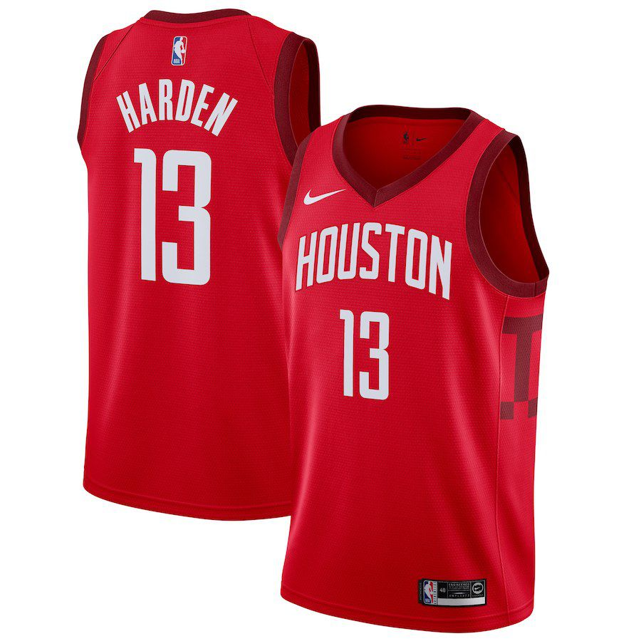 Men Houston Rockets 13 Harden Red Swingman Earned Edition NBA Jersey