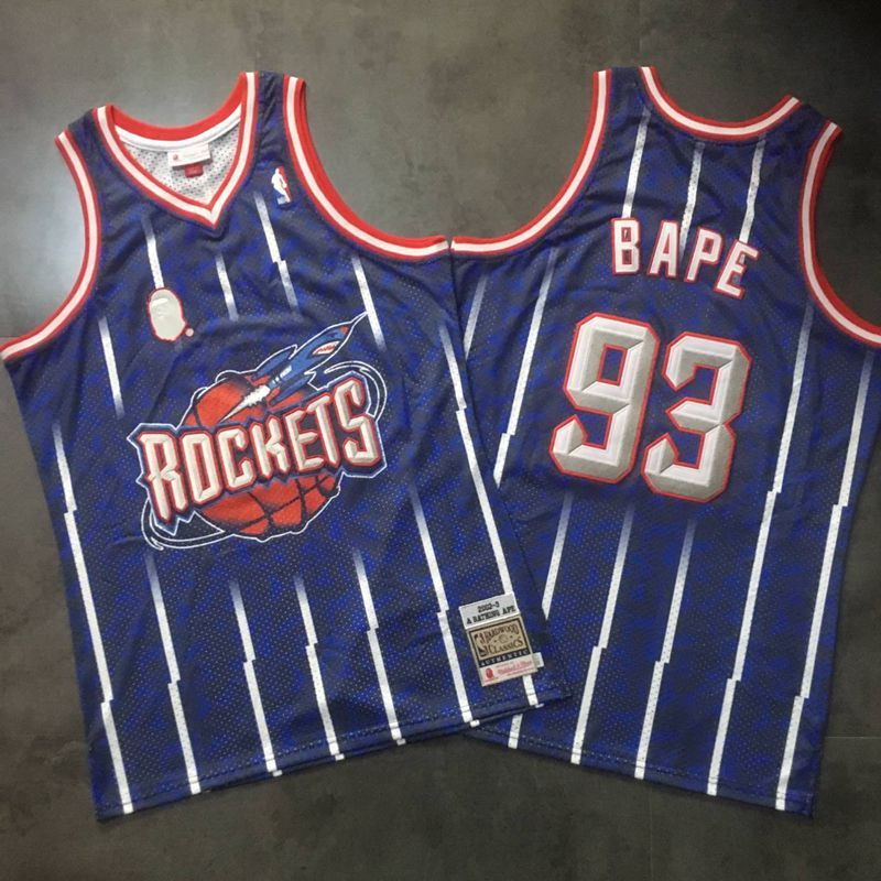 Men Houston Rockets 93 Bape Blue Trowback Swingman NBA Jersey