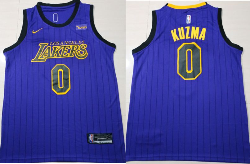 Men Los Angeles Lakers 0 Kuzma Blue City Edition Game Nike NBA Jerseys