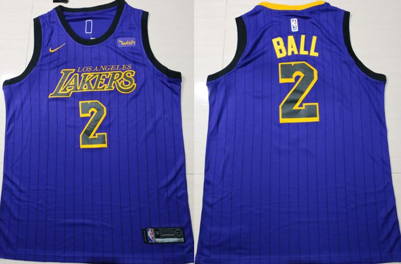 Men Los Angeles Lakers 2 Ball Blue City Edition Game Nike NBA Jerseys