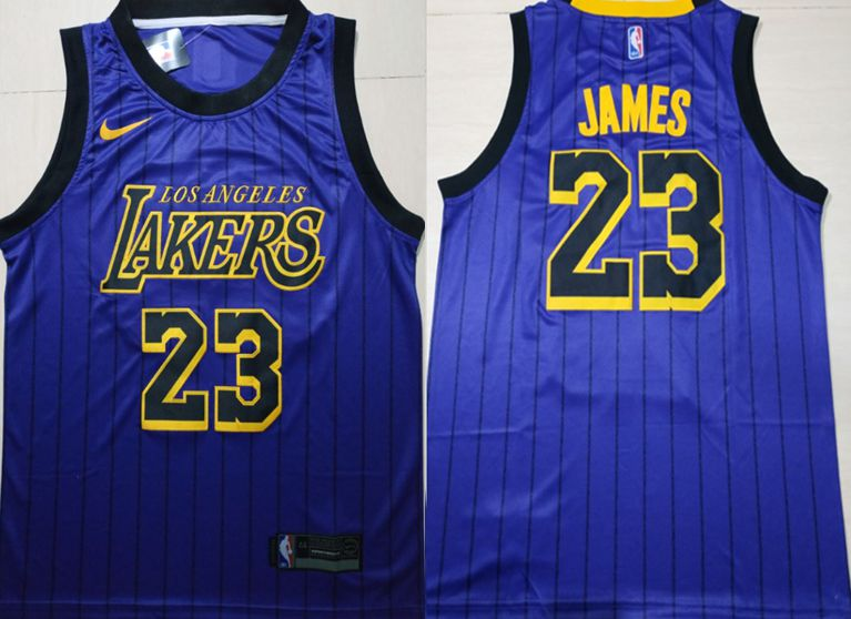 Men Los Angeles Lakers 23 James Blue City Edition Game Nike NBA Jerseys