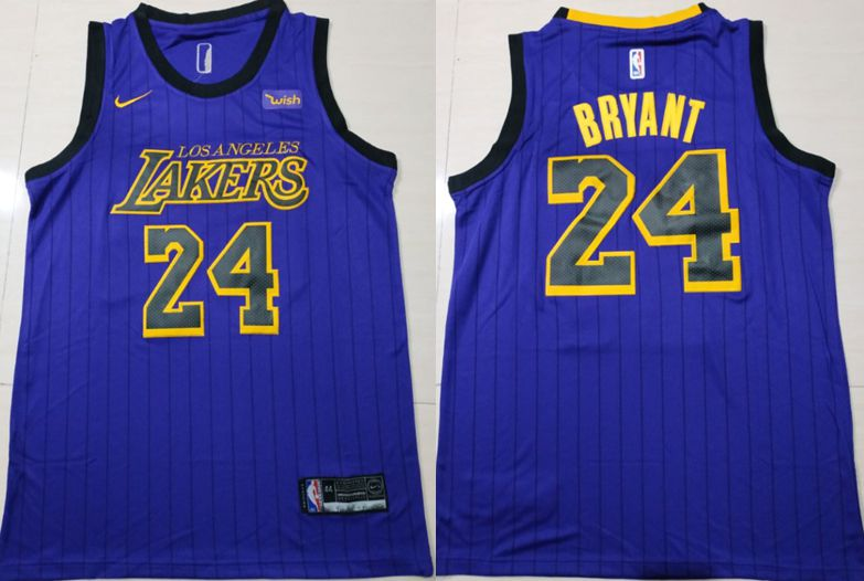Men Los Angeles Lakers 24 Bryant Blue City Edition Game Nike NBA Jerseys