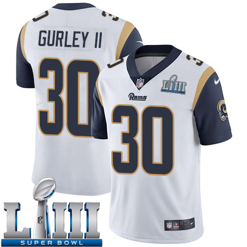 Men Los Angeles Rams 30 Gurley II white Nike Vapor Untouchable Limited 2019 Super Bowl LIII NFL Jerseys