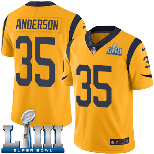 Men Los Angeles Rams 35 Anderson yellow Nike Vapor Untouchable Limited 2019 Super Bowl LIII NFL Jerseys