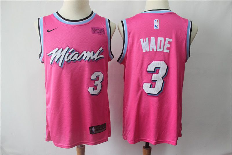 Men Miami Heat 3 Wade Pink City Edition Game Nike NBA Jerseys