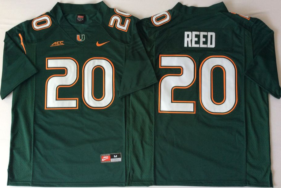 Men Miami Hurricanes 20 Reed Green Nike Stitched NCAA Jersey