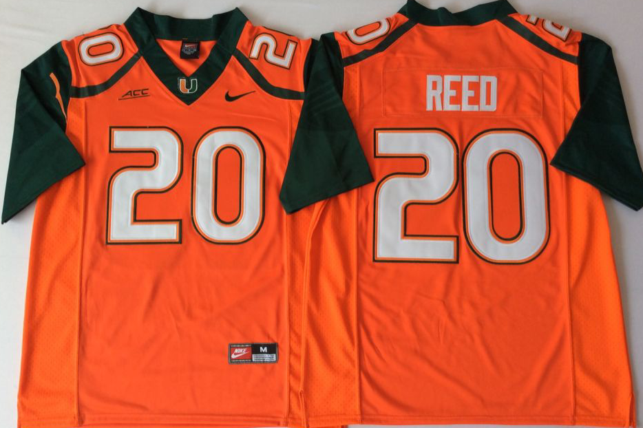 Men Miami Hurricanes 20 Reed Orange Nike Stitched NCAA Jersey