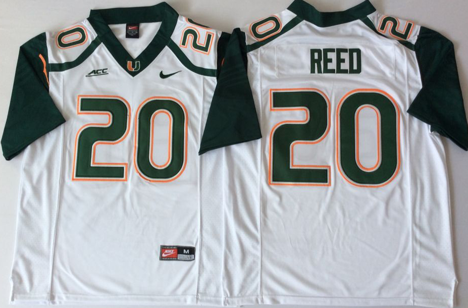 Men Miami Hurricanes 20 Reed White Nike Stitched NCAA Jersey