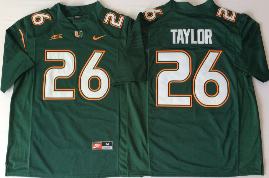 Men Miami Hurricanes 26 Taylor Green Nike Stitched NCAA Jersey