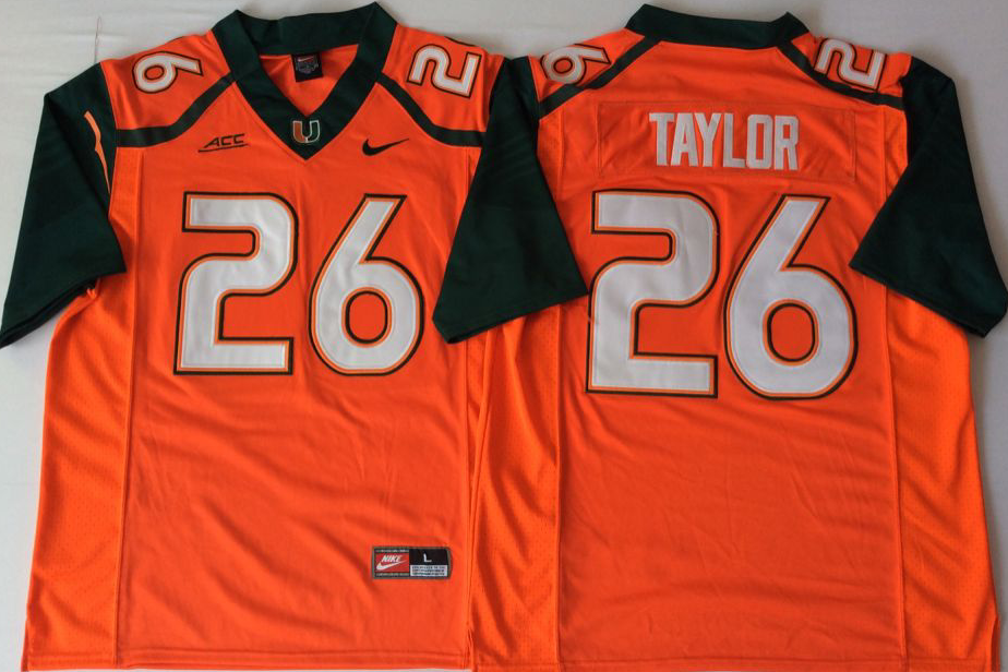 Men Miami Hurricanes 26 Taylor Orange Nike Stitched NCAA Jersey