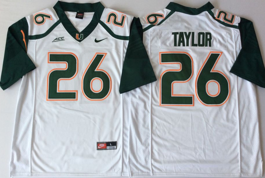 Men Miami Hurricanes 26 Taylor White Nike Stitched NCAA Jersey