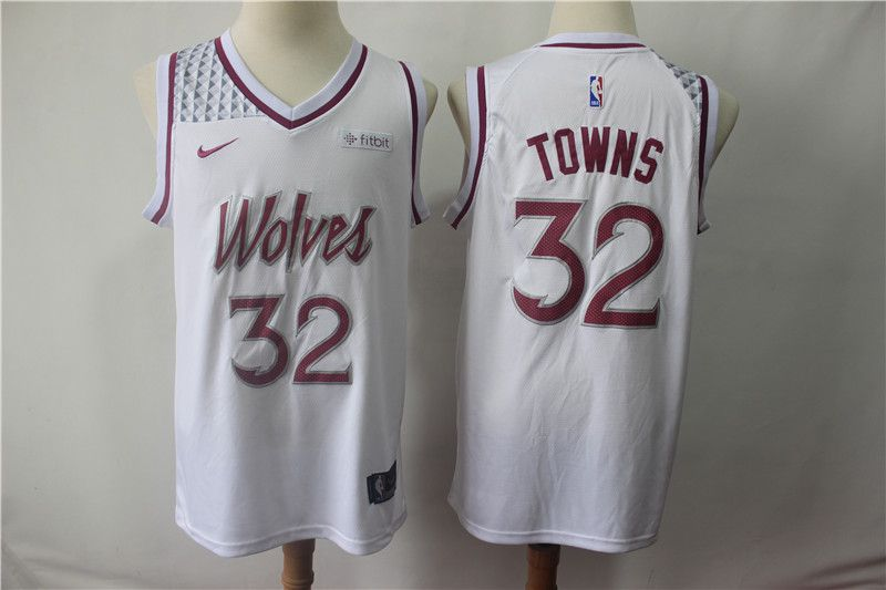 Men Minnesota Timberwolves 32 Towns White City Edition Game Nike NBA Jerseys