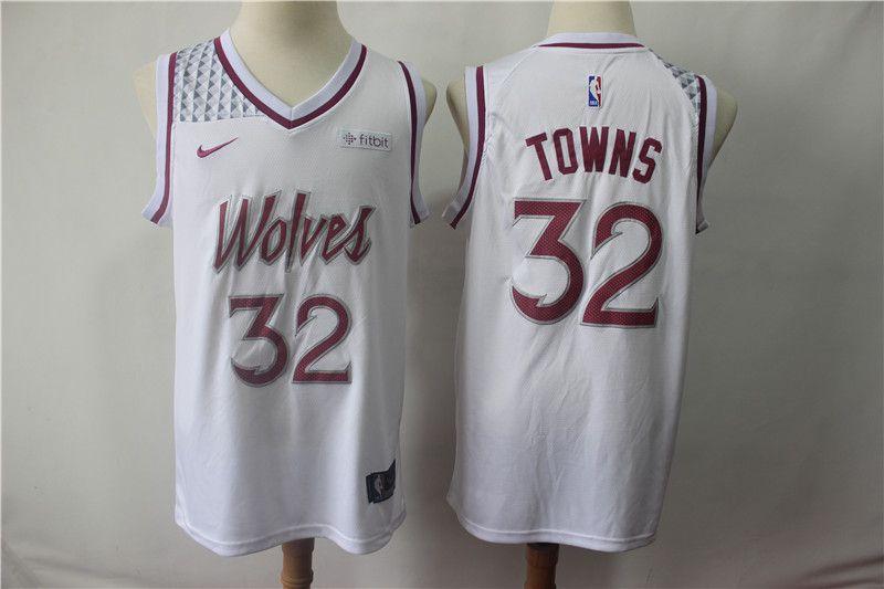 9705f7b91 Men Minnesota Timberwolves 32 Towns White City Edition Game Nike NBA Jerseys