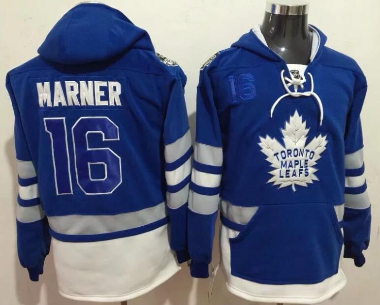 Men NHL Toronto Maple Leafs 16 Marner blue Hoodie